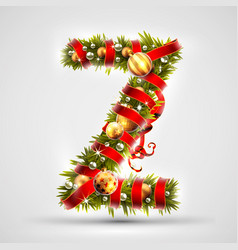 christmas font letter z of christmas tree vector image vector image