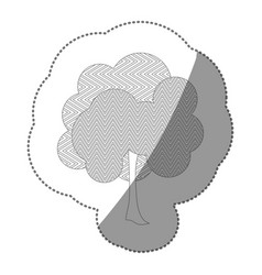 contour sticker natural tree icon vector image vector image