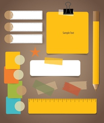 Cute note papers Business working elements for web vector image vector image