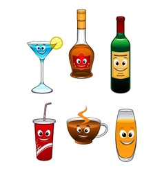 Drinks and beverage cartoon characters vector image