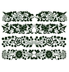 flower border element set vector image