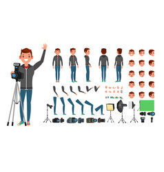 photographer man taking pictures animated vector image vector image