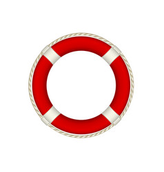 red life buoy with rope around vector image