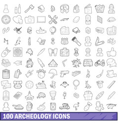 100 archeology icons set outline style vector