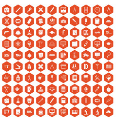 100 compass icons hexagon orange vector
