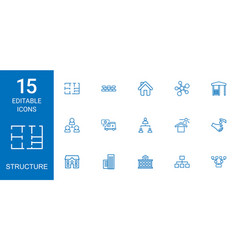15 structure icons vector image