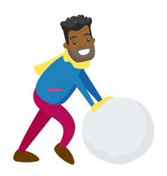 african-american man making snowball for snowman vector image