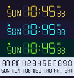 alarm clock lcd display font electronic clocks vector image