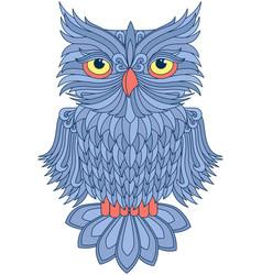 Amusing blue owl vector