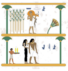 ancient egypt background man returns from hunting vector image