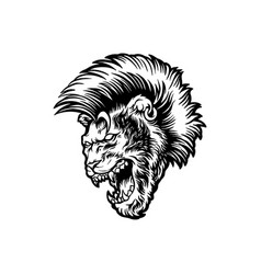 Angry lion with mohawk hair silhouette vector