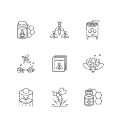 Apiculture linear icons set vector