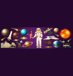 astronaut in space spaceman explores galaxy vector image