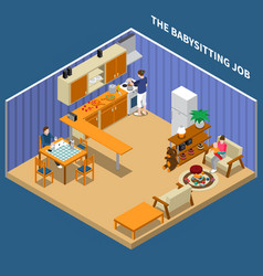 Baby sitting job isometric composition vector