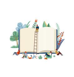 books reading concept little vector image