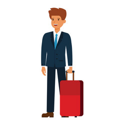 business traveler cartoon flat vector image