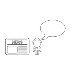 Businessman character with blank speech bubble vector