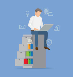 busy man in white shirt with laptop color banner vector image