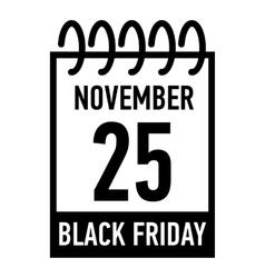 Calendar twenty fifth of november icon vector
