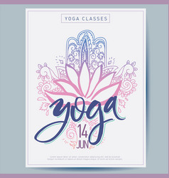 Cards for yoga studio with lettering paisley vector