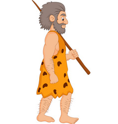Cartoon caveman holding spear vector