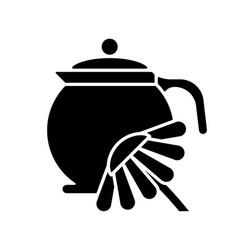 Chamomile tea black glyph icon vector