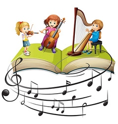 Children playing music together vector