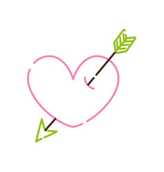 Color line heart symbol of love with arrow style vector