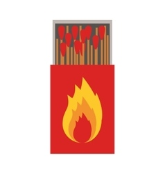 Colorful silhouette of matchbox with logo flame vector