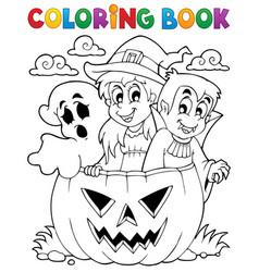 Coloring book halloween character 5 vector
