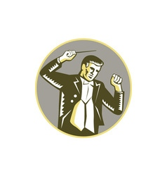 Conductor waving baton circle woodcut vector