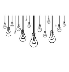 continuous line a lot light bulbs many ideas vector image