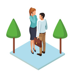 Couple with briefcases vector