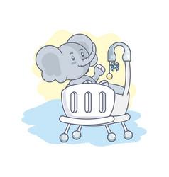 Cute elephant baanimal in crib vector