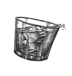 Design glass with whisky and ice cubes vector