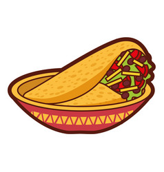 Dish with delicious mexican food tacos vector