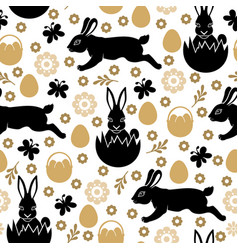 easter pattern seamless with rabbits vector image