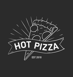 emblem or logo with pizza slice and ribbon tape vector image