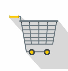 empty supermarket cart with yellow handles icon vector image