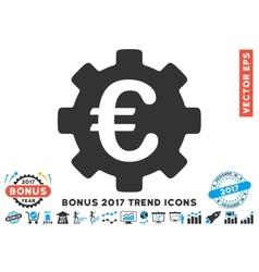 Euro Development Gear Flat Icon With 2017 Bonus vector image