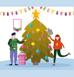 Family with gifts and tree merry christmas happy vector