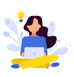Flat girl working with laptop vector