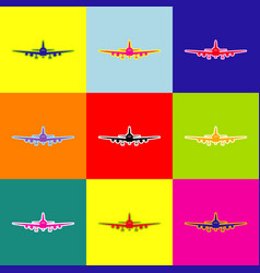 flying plane sign front view pop-art vector image