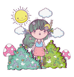 girl creature in the bushes with sun and clouds vector image