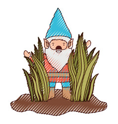 gnome coming out of the bushes in colored crayon vector image