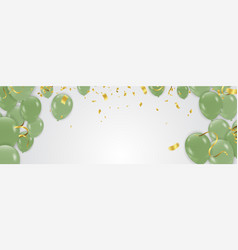 green balloons with decorative element for party vector image