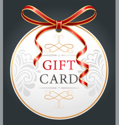 greeting gift card with red festive ribbon vector image