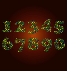handwritten number 2019 patterned with zen-tangle vector image