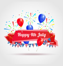 happy 4th of july greeting postcard vector image
