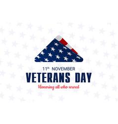 Happy and free veterans day november 11th folded vector